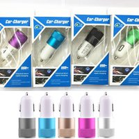Wholesale Micro Usb Charging Port - Aluminum USB Car Charger 2.1A Fast Charging Adapter Metal Micro Dual USB Car Phone Charger for Iphone for Samsung 2-Port USB