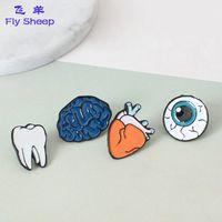Wholesale Human Eyeball - Human Body Organs Shape brooches Creative Teeth Heart Brain Eyeball Shaped Metal Decoration Brooch