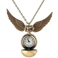 Wholesale Without Dressed Girls - wholesale unisex mens women girls boys Vintage Bronze pocket watch alloy chain bright ball necklace pendant wing quartz watches
