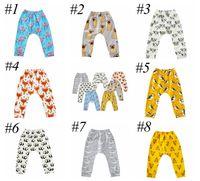 Wholesale Elastic Waist Shorts Colorful - INS Baby Animal Cartoon Leggings Casual Cartoon Animal Pants Colorful Fox Panda Tiger Infant Long Trousers PP Pants 8colors choose free ship