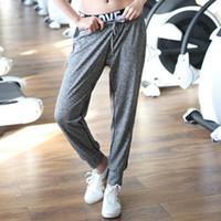 Wholesale Belly Dance Bloomers - Wholesale- BONJEAN Mid-Waist Women's Sports Yoga Pants Loose Long Bloomers Trousers Belly Dancing sport long Pants Dance Club Pants