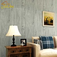 Wholesale Metallic Wallcovering - Vintage style Imitation Wood Texture Nature Plant Fiber Non-woven Wallpaper Bedroom Livingroom Wallpaper Home Decor Wallcovering