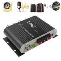 Wholesale New Arrival Black V Mini Hi Fi Amplifier Booster Radio MP3 Stereo for Car Motorcycle Home CAU_10E