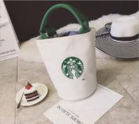sacos de almoço transporte gratuito venda por atacado-Venda quente-Mulheres Famosas Starbucks Bonito Bolsa de Compras Senhoras Da Marca de Moda Designers Lunch Bag Frete Grátis Tote Da Lona de Alta Qualidade