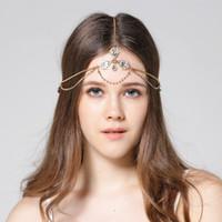 corrente de cabeça boho venda por atacado-Cadeia de cabeça Diamante head band hair jewelry cabeça de noiva de noiva Jóias aniversário boho