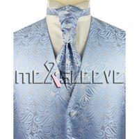 Wholesale Tuxedo Ascot Tie - Wholesale- 4pcs tuxedo light blue latest pattern waistcoat (vest+ascot tie+cufflinks+handkerchief)