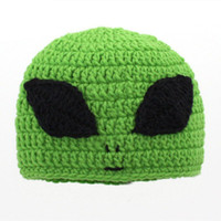 Novelty Character Green Alien Hat,Handmade Knit Crochet Baby Boy Girl Big Eye Alien Hat,Infant Winter Cap,Newborn Toddler Photo Prop