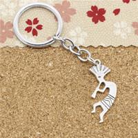 Wholesale Native American Fashions - 15pcs Fashion Diameter 30mm Metal Key Ring Key Chain Jewelry Antique Silver Plated native american kokopelli 38*14mm Pendant