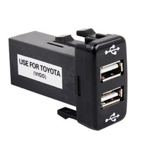 Wholesale Dashboard For Toyota Car - 5V 2.1A Dual USB Socket Car Charger 2 USB Port Fast Charge Adapter Dashboard Mount Phone Input for TOYOTA VIGO