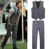 Wholesale Mens Suits Free Shiping - Wholesale- free shiping Beckham bakham mens suits vest male casual slim vest pant set (vest+pant) plus size XXXL