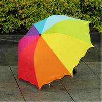 Wholesale Rainbow Umbrella Free Shipping - New fashion Anti UV Multi-Color Sun Protection Rain Rainbow 3 Folding Windproof Umbrella High Quality Free shipping