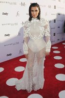 Wholesale Kim Kardashian Pictures Long Mermaid Dress - Kim Kardashian red carpet Celebrity Dresses 2017 Evening Dresses Long Sleeve High Collar Celebrity Party Dresses Fashion Los Angeles Awards