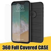 iphone ön kapak kasası toptan satış-360 Derece Tam Kaplı Telefon Kabuk 3 in 1 Temper Cam + Ön + Arka Kapak Kılıf iphone X 8 7 S8 S8Plus Note8