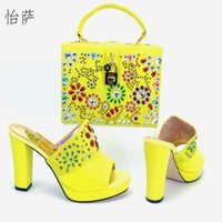 Wholesale Yellow Shoes Matching Bag - African Wedding Shoes and Bag Sets Shoe and Bag Set Women Pumps Decorated with Diamonds Italian Matching Shoe and Bag lYS1-8