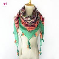 Wholesale Wholesale Black Square Scarf - Wholesale fashion spring flowers printed colorful tassels pom pom scarves SQUARE