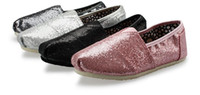 black shiny fabric - High quality shiny Summer shine canvas shoes glitter Flat shoes Sequins Flat shoes