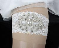 Wholesale One Garter - One Piece Lace Wedding Bridal Garter Set Handmade Flower Rhinestones Vintage Lace Wedding Bridal Leg Garters 2017 In Stock