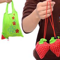 paquete de fresas al por mayor-DHL SF_express Nylon Plegable Bolsas de compras reutilizables Strawberry Tote Eco Almacenamiento Bolso de embalaje bolsa en stock