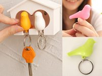 Moda Whistle Bird House Couple Lover chaveiros, Wall Mount Hook Key Holder Chaveiro de plástico chaveiro para as teclas