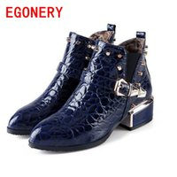 Half Boots black equestrian leather - EGONERY shoes new winter women fashion hoof high heels ankle boots casual riding equestrian slip on pointed toe shoes