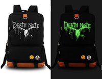 Wholesale Death Note School - Wholesale- Death Note Anime School Shoulder Bag Luminous backpack black Bag New