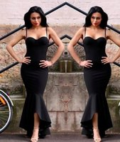 Wholesale High Low Cheap Elegant Dress - 2017 Elegant Black Evening Dresses Mermaid Straps Sweetheart High Low Short Prom Dresses Vintage Cheap Formal Party Wear Red Carpet Dress