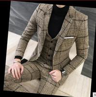 ingiliz takım elbise tasarımı toptan satış-3 Parça Suits Erkekler İngiliz Son Pantolon Ceket Tasarımları Kraliyet Mavi Erkek Suit Sonbahar Kış Kalın Slim Fit Ekose Gelinlik Smokin