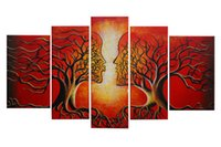 Wholesale Tree Life Paintings - 100% Handmade Life Tree Oil Painting on Canvas Modern Abstract Kissing Tree Painting Decor Wooden Frame Ready to Hang