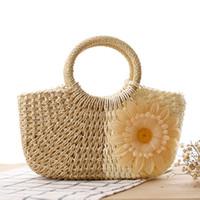 Wholesale Colorful Handmade Bag - 2017 Fashion Small Summer Bag Women Woven Straw Handbags Flowers Bolsas Feminina Handmade Colorful Female Beach Bag Zipper C54