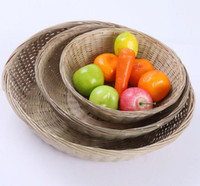 Wholesale 3PCS plastic woven laundry hampers storage basket Flower baskets Crafts Decoration Bamboo Weaving Fruit Rattan Storage Box