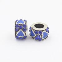 bileklik kolye toptan satış-2 adet Orijinal Zarif Gümüş Kristal Kalp Şekli Charm Ball Fit Pandora Bilezik Kolye Otantik Aksesuarları