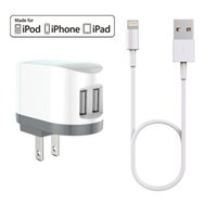 Wholesale Iphone Cable Mfi - HXINH CoolPowr 3.4A(17W) MFi Certified US Travel Home Wall Charger Kit for iPhone 5 6 7 Plus iPad air pro with a 1M Lightning to USB cable