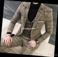 Wholesale Window Dressings - Autumn Winter window check pattern woolen men suit blazer sets custom made wedding dress best man suit 3 piece(jacket+pants+vest)