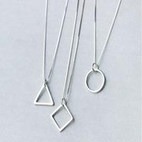Wholesale Triangle Circle Pendant - Fashion Box Chain Necklaces 925 Sterling Silver Geometric Triangle Round Circle Square Necklaces Pendants Necklaces Jewelry AL