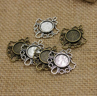 Wholesale Silver Filigree 12mm - 100pcs Antique Bronze Metal Cameo Flowers Filigree 26*29mm (Fit 12mm) Round Cabochon Pendant Setting Jewelry Blank Findings
