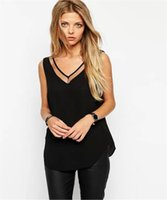 Wholesale Styles Womens Tank Tops - Wholesale- Summer Style Sexy Womens Sleeveless Halter Blouses Casual Vest Loose Chiffon Blouse V Neck Tank Tops Plus Size White