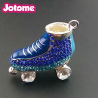 Wholesale Enamel Charms Skate - Vintage 3D design Enamel Crystal Rhinestone Ice Skating Shoe shape Gift Charm and Pendant For Necklace