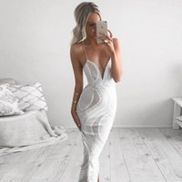 Wholesale Halter Chiffon Tunic Dress - Deep V Sexy Lace Hollow Strapless Split Maxi Dress White Bandage Long Women Tunic Vestidos De Fiesta Largos Elegantes F0061