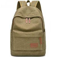 bolso de hombro caqui de los hombres al por mayor-Mochila de lona de la escuela mochila de viaje mochila bolso negro azul mochila de color caqui portátil para las mujeres de los hombres al por mayor