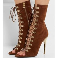 T Show 2017 Recorte Gladiators Womens Sexy Lace up peep toe leather tacón Stiletto Summer Sandals Ankle Booties Ladies Party Pumps