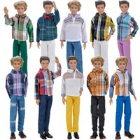 Wholesale Toy Ken - E-TING Doll Clothes Casual Wear Long Sleeves Plaid T-Shirt Pants Trousers Outfits Set For Barbie Ken Doll Accessories Shoes