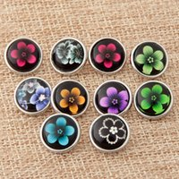Wholesale Agate Mixed 12mm Beads - 12mm Mini Snaps Button 10pcs lot Mix Colors Flowers Pattern Glass Ginger Snap Button Fit Snap Charm Bracelet Jewelry YY071
