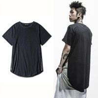 Wholesale Design Basic Shirt - High Street Basic Cotton T shirt Men Side Zippers Hem Design O-neck Solid Black White Tee shirt Man Hip hop Skateboard Tee XXXL