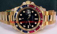 ingrosso braccialetti di diamanti neri-Bracciale in acciaio inossidabile II quadrante nero con zaffiro e rubino diamante lunetta 116758 OROLOGIO DEL TORO 40mm movimento automatico dell'orologio da uomo con orologio da polso