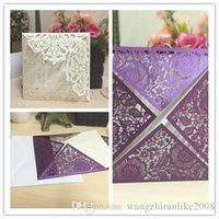 Wholesale Cheap Christmas Greeting Cards - Gold Red Personal Customization Folded Wedding Invitations 3D Pop Up Floral Hollow out Cheap Wedding Greeting Accessories Card free shipping