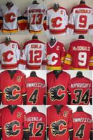 Wholesale Flame Logo - Men 2016 new Calgary Flames #13 Johnny Gaudreau #9 McDonald #12 Iginla #34 Kiprusoff #4 Uwmeester Red White Ice Hockey jersey Stitched Logos