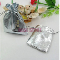 Wholesale Satin Jewelry Packaging Wholesale - Wholesale-Silver Plated Satin Gift Bags 9x12cm Small Jewelry Package Bag Chritsmas Bag Candy Gift Packaging Bag & Pouch 500pcs Lot