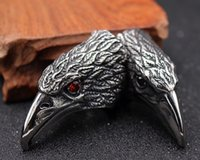 Wholesale Wholesale Unique Quality Jewelry - Red Black Zircon Eyes Personality Unique Biker Eagle Ring Stainless Steel Man's High Quality Jewelry Exaggerated Ring Free Shipping