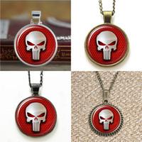 Wholesale punisher logo - 10pcs Red The Punisher Logo Pendant Necklace keyring bookmark cufflink earring bracelet