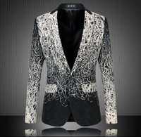 blazer trades - Foreign trade large size men s suits embroidered Slim gradient color suit jacket casual civilian clothes suit male